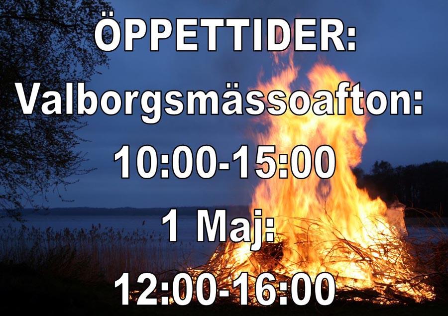 Öppettider Valborg och 1 Maj